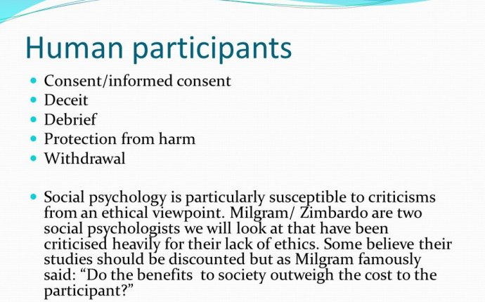 Ethical guidelines. Codes of conduct In any psychological research