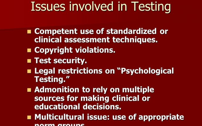 Ethical Issues with Psychological Testing : Psychology