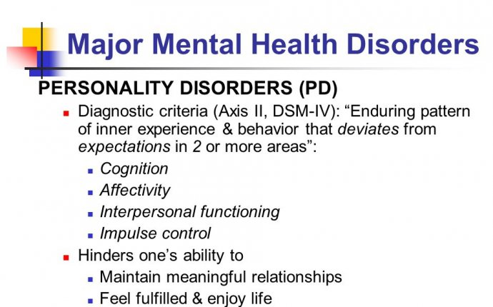 major mental health disorders